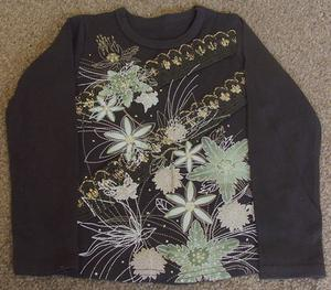 PRETTY GIRLS BROWN TOP WITH GLITTER DETAIL - AGE 4/5 YRS