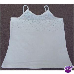 PRETTY GIRLS CREAM SUMMER TOP WITH GLITTER DETAIL 8/9 YRS