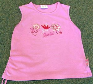 PRETTY GIRLS PINK TOP WITH BARBIE LOGO - AGE 8 YRS