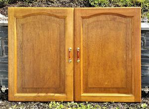 Pair of solid wood kitchen cabinet doors with good hinges