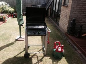 TWO BURNER GAS BBQ + BOTTLE & COVER.