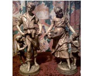 4SALE,A PAIR OF OLD FRENCH PORCELAIN FIGURES,BY F MOREAU