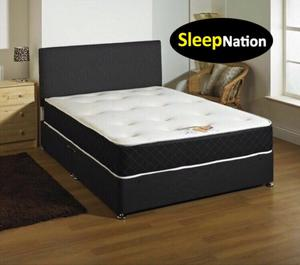 """FX Leather Divan Bed with 10"""" Cloud 9 Memory Foam Sprung Orthopaedic Mattress"""