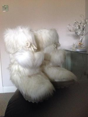 Fur Winter White Fur Boots -Size 2 by Next