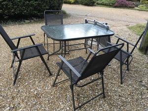 Garden Set Table with 4 Folding Chairs