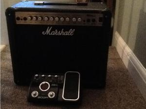 Marshall guitar amp and pedal in Neath