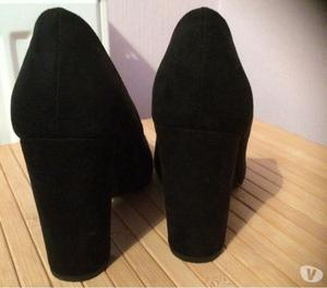 New black suede heels size 5 wide fit.