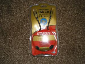 STAPLES 24K GOLD PLATED USB 2.1M
