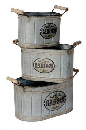 Set of 3 Rustic Buckets Metal Garden Planters Storage Tins