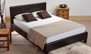 WOW AMAZING OFFER! BLACK AND BROWN ! BRAND NEW DOUBLE Leather Bed With SUPER ORTHOPEDIC Mattress
