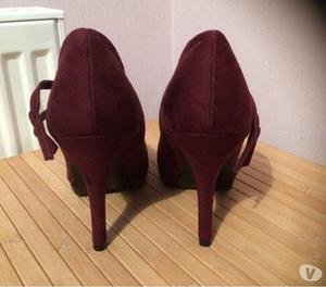 Women's new mulberry coloured stilletto heeled suede shoes w