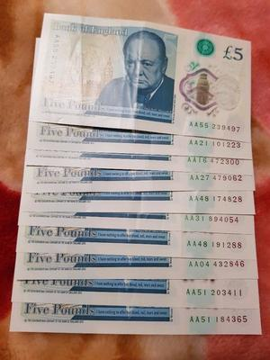 AA £5 NOTES 10 AND AA £10 NOTES 3...MINT CONDITION...IF