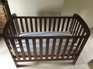 Anna Dropside Cot (John Lewis) - Dark Wood - with mattress