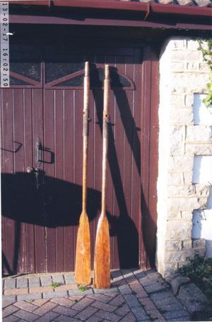 Antique wooden oars