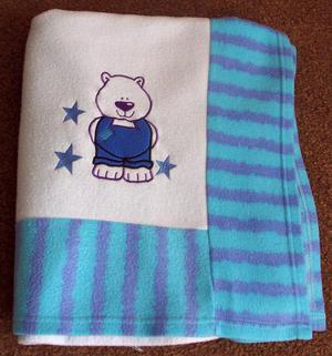 BEAUTIFUL KIDS BLUE BLANKET WITH TEDDY BEAR MOTIF B18