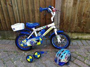 "Boys police bike with 12"" wheels and stabilisers"