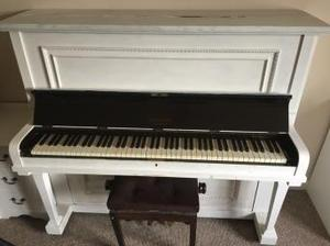 Brigson upright piano in shabby chic paint, with piano stool
