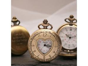Engraved Bronze Pocket Watch Heart Design in Spalding
