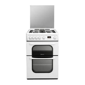 HOTPOINT WHITE 60CM DOUBLE OVEN GAS COOKER