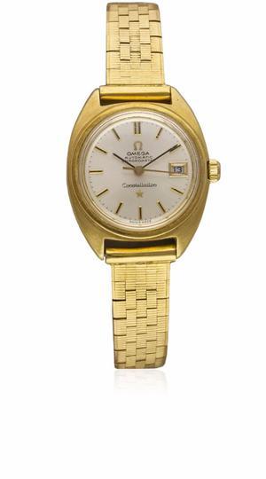 Ladies 18K solid gold Omega Constellation chrono bracelet wa