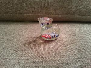 Murano style glass cat paperweight blue, red, white