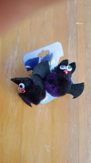 Novelty hair ties, bats with googly eyes, 2, unused