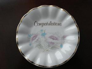"""POLLY - ANNA"" Fine Bone China ""Congratulations"" Sweet Dish"