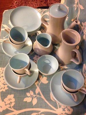 Poole Pottery Twin Tone 's Coffee/Tea & Cake Set For 6