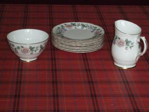 ROYAL GRAFTON BONE CHINA, 8 SIDE PLATES SUGAR BOW & MILK JUG