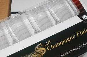 Swirl detail plastic champagne flutes