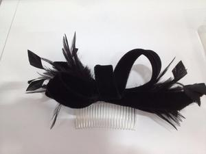 Velvet & feathered hair band in black with comb insert