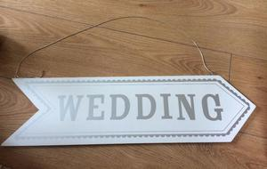 WHITE and SILVER WOOD WEDDING SIGN