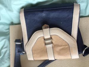 £5 Blue and cream handbag
