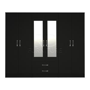Beatrice wardrobe 4 you, 2,28m wide 6 door black wardrobe