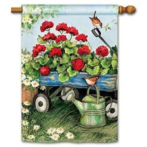 "BreezeArt Geraniums by the Dozen 28"" X 40"" House Flag -"
