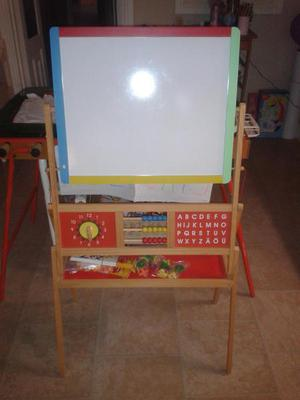 DOUBLE SIDED EASEL AND CHALKBOARD WITH MAGNETIC LETTERS AND