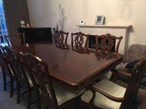 Large dining table 8 Chairs 2 display cabinets