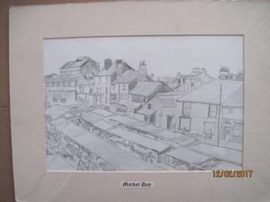 Market Day pencil drawing