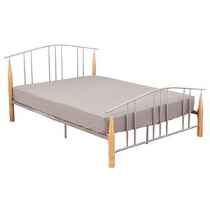 Metal bed, frame, wooden feet, &, double padded, mattress