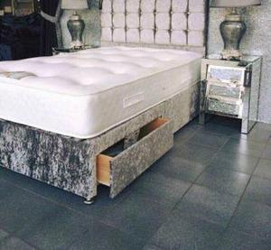 New silver crushed velvet divan bed set