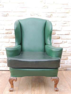 Queen Anne High back Green armchair (Delivery)