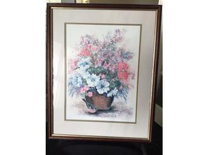 Tub of Flowers and Robin limited edition print by