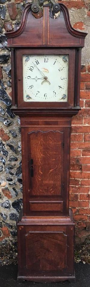 Antique oak and mahogany grandfather longcase clock 30 hour