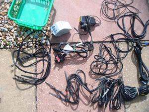 Assorted groups of wires, plugs, extension leads etc.