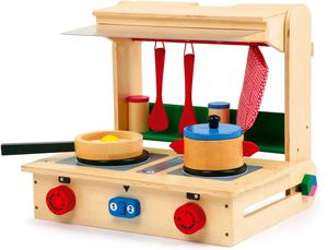 Children's Kitchen Play Wood TOY Stove in case collapsible