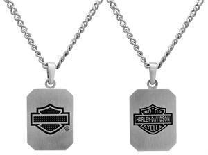 Harley-Davidson Steel & Carbon Fibre Dog Tag Necklace
