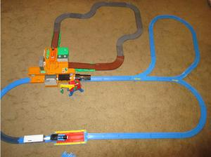 Large Tomy Kids Plastic Train Set - with Trains, Carriages,