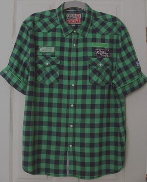 MENS BLACK/GREEN CHECK SHIRT BY LEE COOPER - SZ XL B18