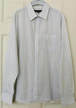 MENS GREY STRIPE SHIRT BY FRENCH CONNECTION SZ XL B17
