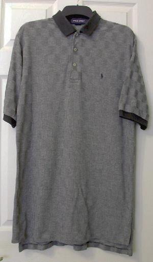 Mens Grey Chequered T Shirt By Polo Golf - Sz L B7